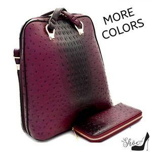 Convertible Wine Backpack/Handbag & Wallet Set